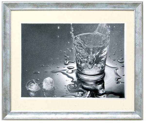 枝川真理の鉛筆画教室 生徒作 SSさんグラスの水と氷