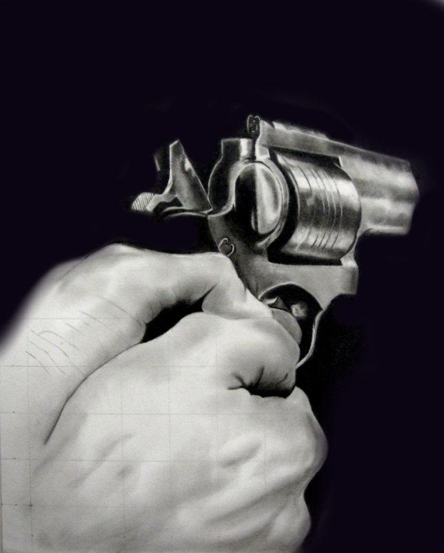 枝川真理の鉛筆画教室生徒作拳銃