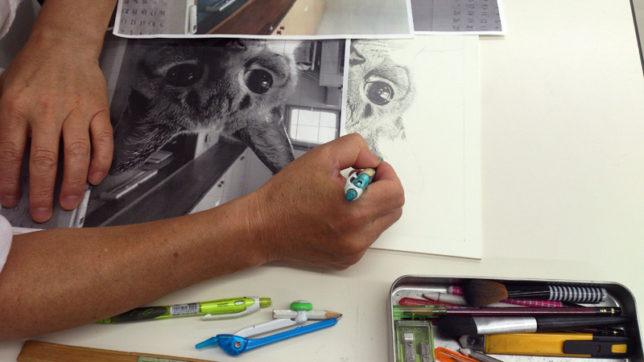 枝川真理の鉛筆画教室生徒練習風景1