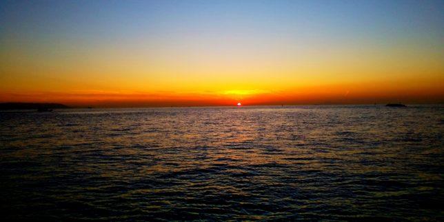 明石林崎漁港の夕日