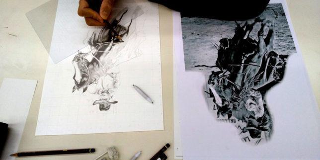 枝川真理の鉛筆画教室生徒 練習の模様