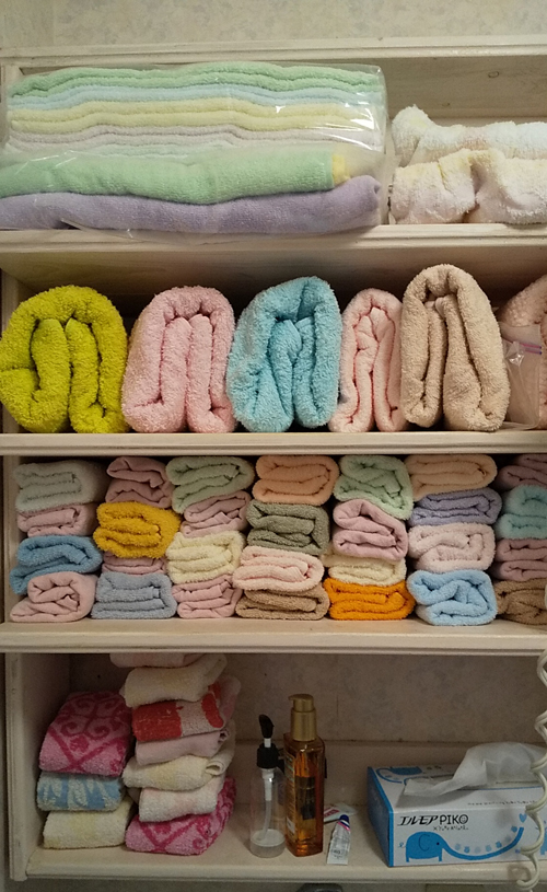 風呂場のタオル 整理整頓