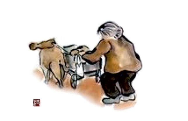 枝川ヒロシ 心の絵 老婆と老犬