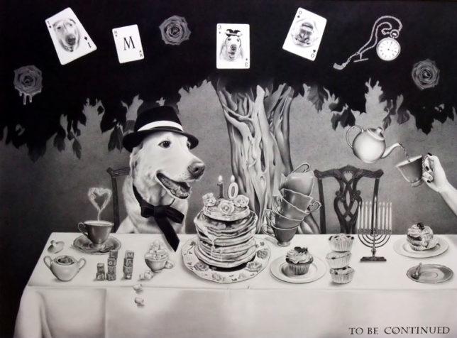 枝川真理の鉛筆画 愛犬マックの作品 F25号